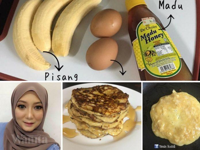 Pancake 3 Bahan Ini Tak Guna Tepung Pun, Sesuai Sangat Untuk Mak-mak Tengah Berdiet