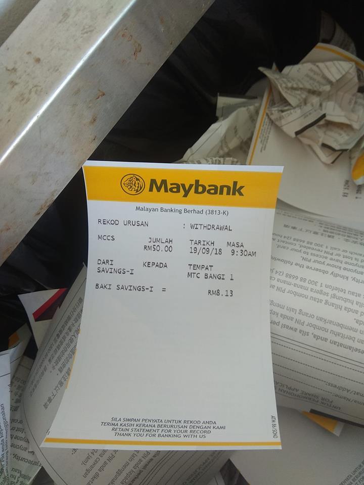 Walau Hujung Bulan, Baki Resit Bank Masih Berbaki RM28K