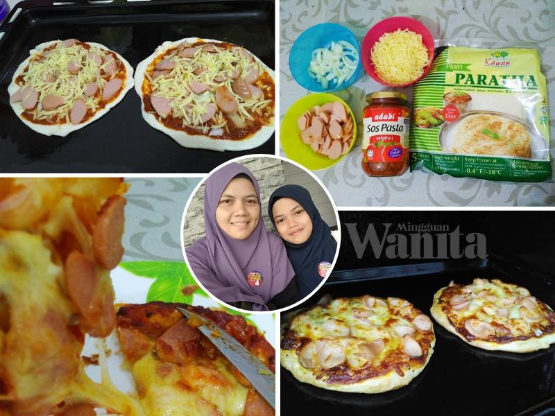 Resepi 'Campak-campak' Pizza Paratha, Keju Banjir Tak 'Hingat' Tu Buat Sedap
