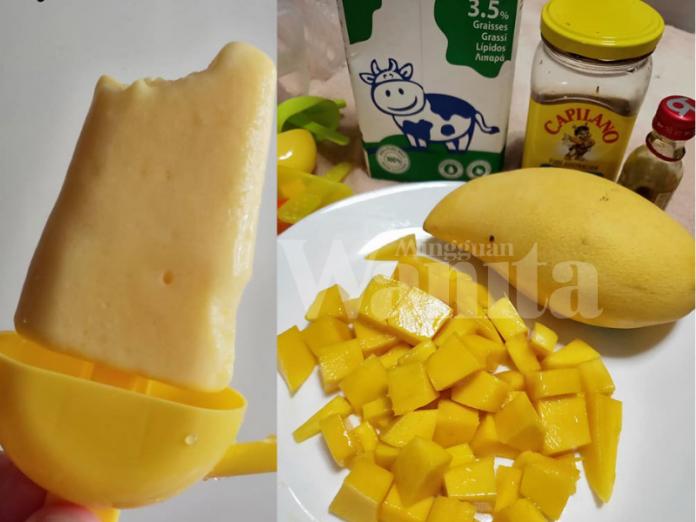 Mango Ice Cream Lolly with Marshmallow
