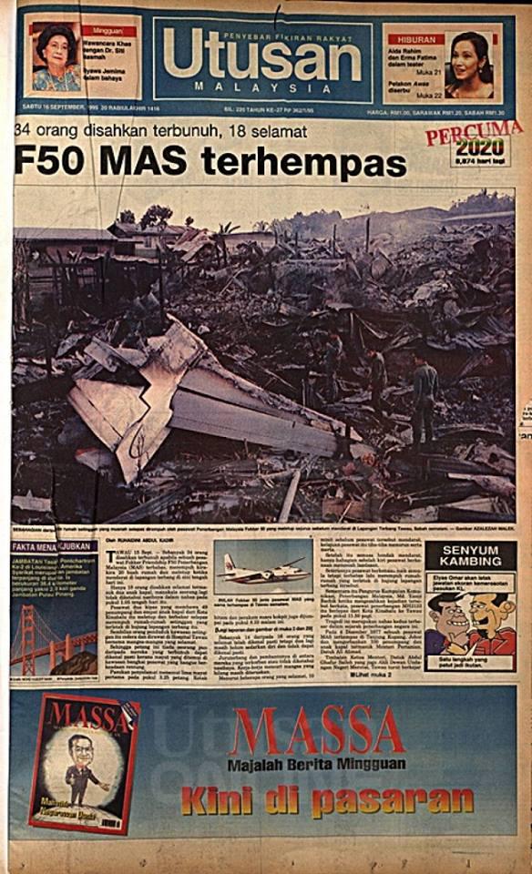 Mengenang Tragedi 15 September, Terhempasnya Pesawat Fokker 50 MAS Di Tawau