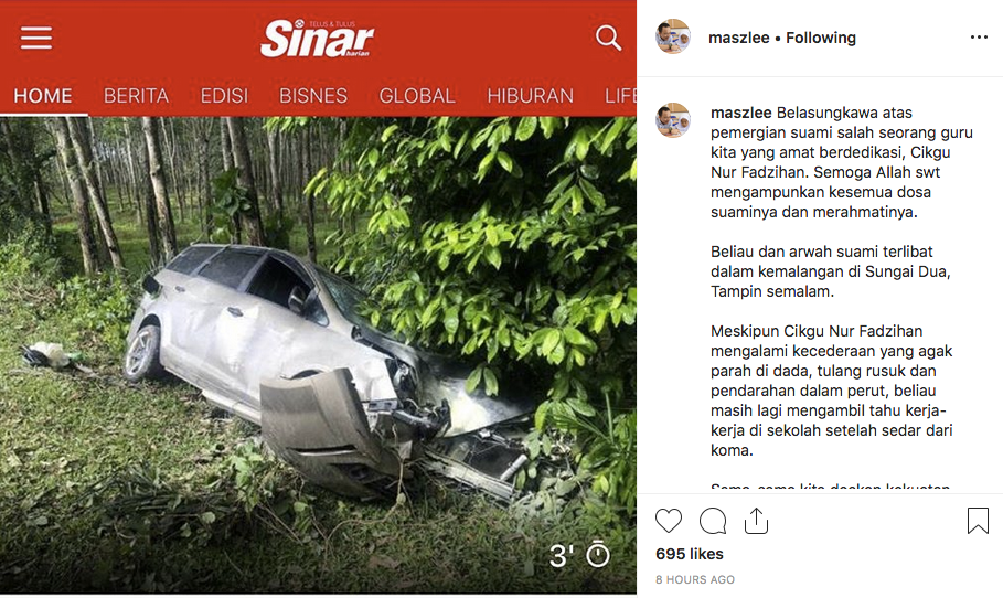 Suami Meninggal Kemalangan, Dalam Perjalanan Hantar Isteri Jaga SPM