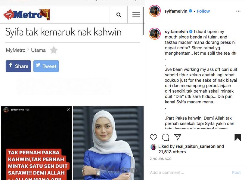 'Tak Pernah Minta Duit 'Dia' Sara Hidup' Syifa Melvin Dedah Cerita