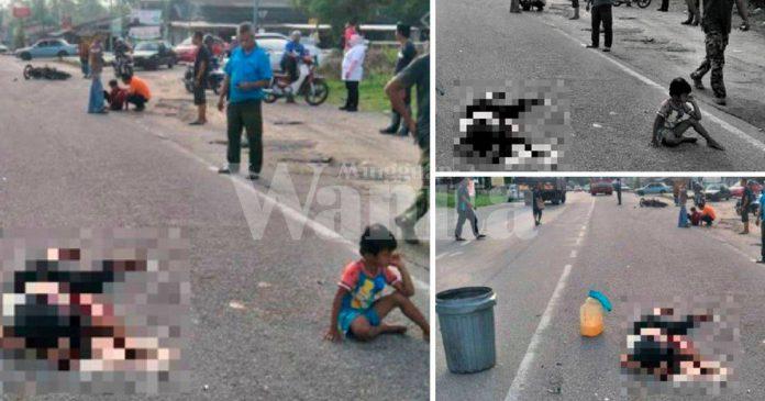 Dua Anak Cedera Menangis Dekat Jenazah Ibu, Dijemput Ilahi Dalam Kemalangan