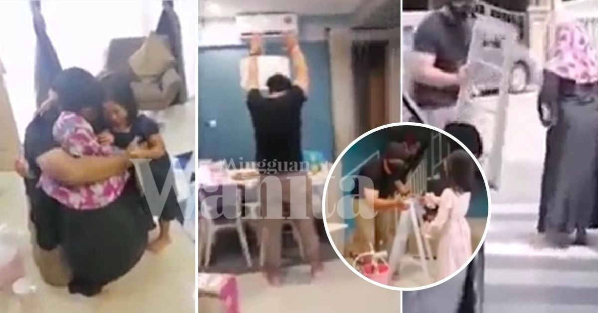 Tujuh Bulan Terpisah Jauh, Ayah Menyamar 'Orang Aircond' Surprise Anak-anak