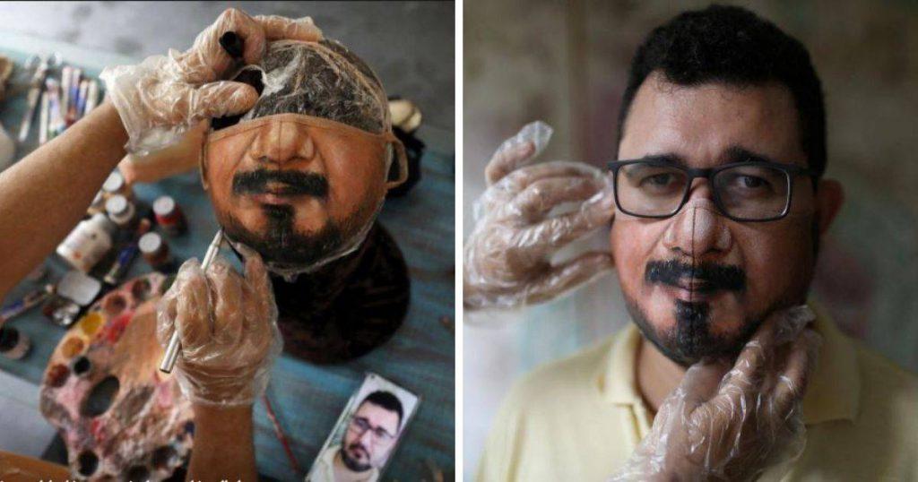 Artis Brazil Lukis Atas Pelitup Muka, Bila Pakai Seperti Tunjuk Muka Sebenar