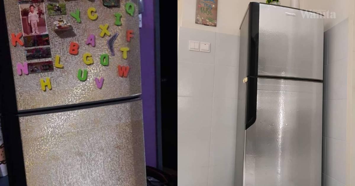 DIY Balut Peti Ais Lama Dengan Wallpaper, Terus Nampak Baru!