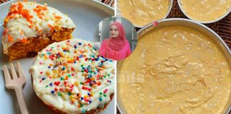 Kek Carrot Bajet, Letak Topping Cream Cheese, Ikut Sukatan Cawan Buatnya!